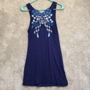 NWOT Kirra Sequin Back Blue Dress Size M